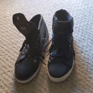 Black Silver Studded Black Tennis Shoes